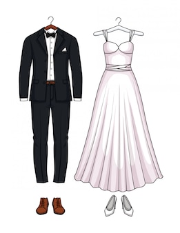 ウェディングドレスとウェディングスーツセット