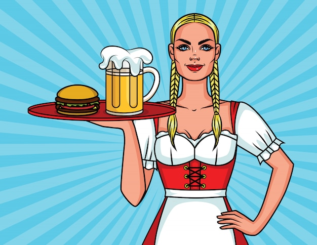 オクトーバーフェストフェスティバルの美しいウェイトレスと食事トレイ