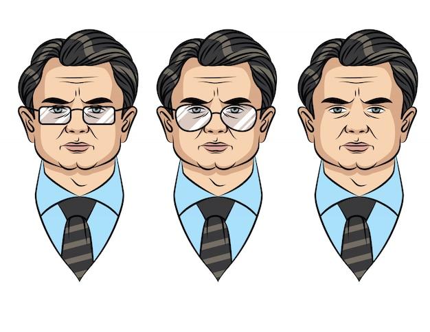 メガネの異なるスタイルのビジネスマンのカラフルな肖像画