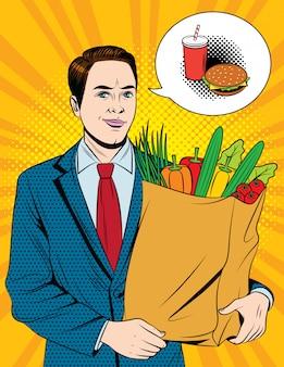 食料品の買い物をしている実業家
