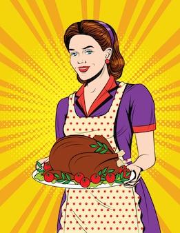 夕食を提供するエプロンの少女とヴィンテージのポストカード。