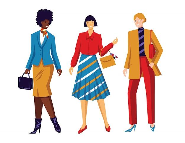 Цвет плоский стиль иллюстрации. женская сборная.