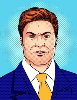 青いドット背景から分離された怒っている男の顔のカラフルなポップアートコミックスタイルのイラスト。猛烈なビジネスマンの肖像画。大ボスの感情的な顔