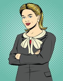 腕を組んで立っているビジネス女性の色のポップアートコミックスタイルのイラスト。オフィススーツの美しいブロンドの女性は笑っています。