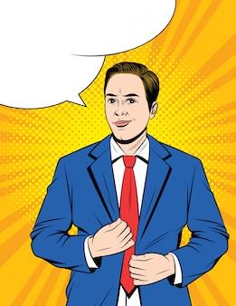ビジネススーツの若い男のカラフルなポップアートスタイルのイラスト。何かを考えているハンサムなビジネスマン。