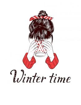 Цветной эскиз стиль иллюстрации девушка пьет горячий кофе. зимнее время рука рисунок надписи изолированы. девушка с букетом на голове держит чашку в руках