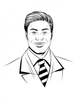 若い男の幸せそうな顔の黒白いイラスト。笑みを浮かべて男のグラフィックデザインのアバター。分離されたハンサムな成功した実業家の肖像画