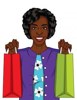 ショッピングの美しいアフリカ系アメリカ人女性のカラーイラスト。彼女の手でバッグを持って幸せな若い女。