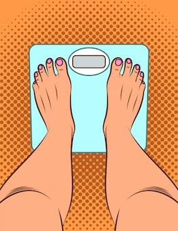 ポップなアートスタイルのカラーイラスト。女の子は体重計の上に立っています。女の子が体重を測定します。女性の足の上面。床の電子秤