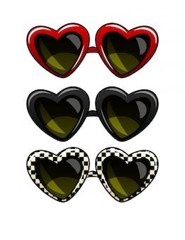 Цветные векторные иллюстрации набор старинных солнцезащитных очков. очки в оправе в форме сердца. солнцезащитные очки разных цветов, изолированные