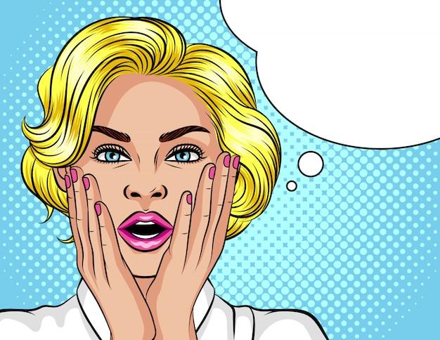 Цветная иллюстрация в стиле поп-арт. блондинка с удивлением открыла рот. красивая женщина в шоке.