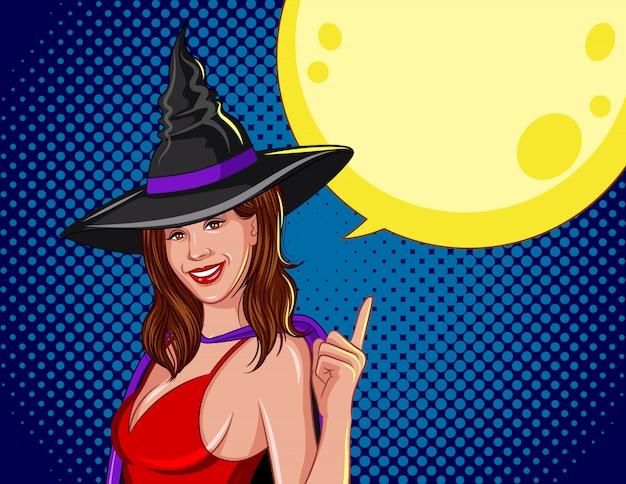 ハロウィーンの色のベクトル図。後ろに月がある魔女。