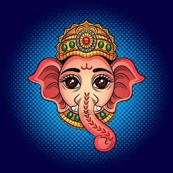 色ベクトルイラスト。象の頭を持つインドの神。インドの神ガネーシュ。