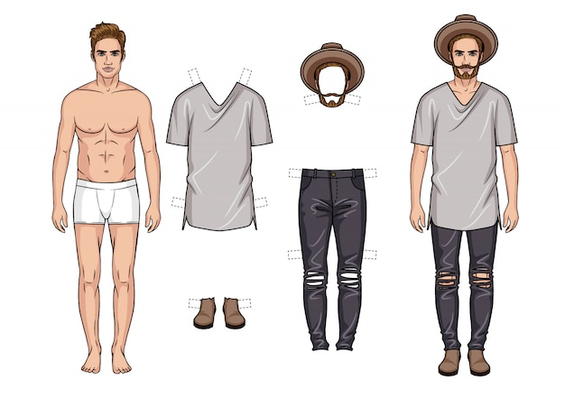 Векторные красочные иллюстрации модные мужские наряды, изолированные от белого.