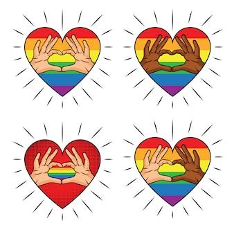 Векторная иллюстрация цвета в форме сердца руки на цвет радуги. цветная печать знак любви с пальцев разных цветов кожи. набор логотипов для лгбт-сообщества