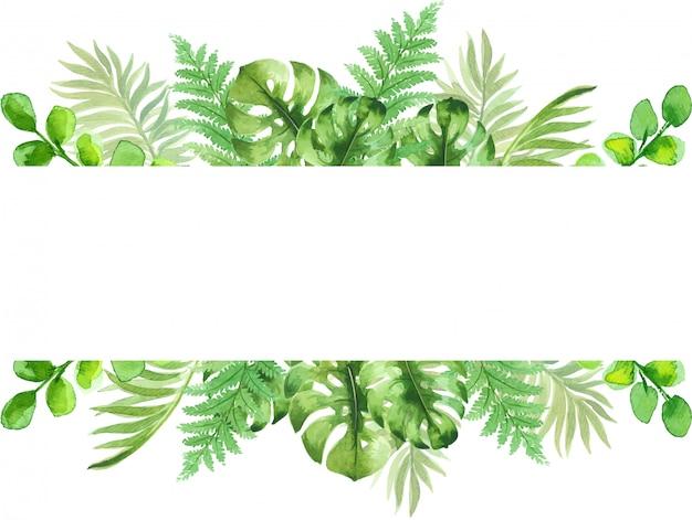 美しい熱帯のエキゾチックな葉を持つ水彩画フレーム