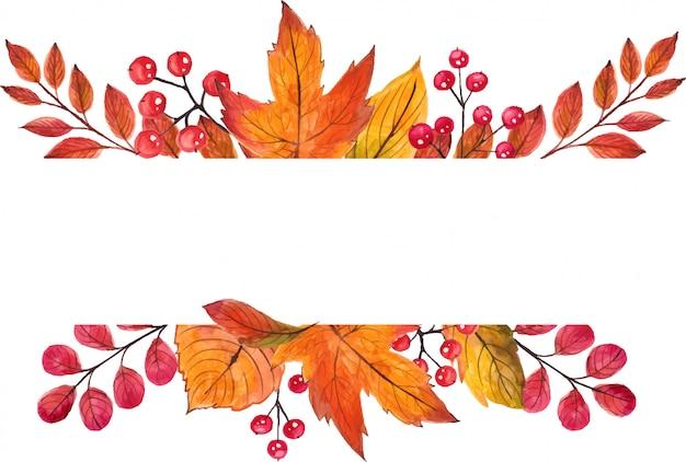 Красивая рамка осенних листьев. акварель ручная роспись иллюстрации.