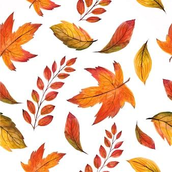 Красивая бесшовные модели с осенними листьями. акварель ручная роспись иллюстрации.