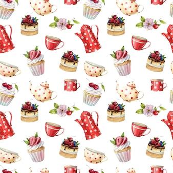 Красивая акварель бесшовные модели с чайниками, чашками, пирожными и кексами