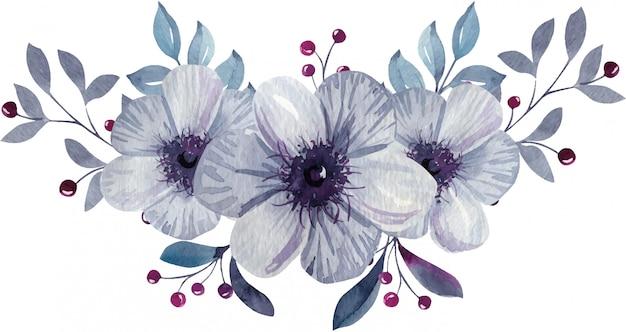 手描きの水彩画の花と葉を持つ事前アレンジメントブーケ。
