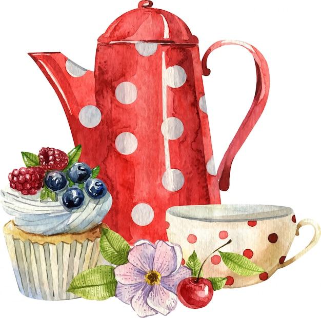 ティーポット、カップ、ケーキ、花の水彩画の組成物。居心地の良いキッチンのインテリア。手描きのイラスト。イングリッシュブレックファスト、ビンテージスタイル
