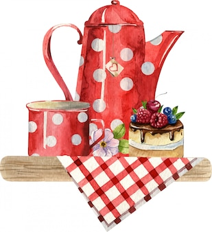 ティーポット、カップ、ケーキ、市松模様のテーブルクロスの上に花の水彩画の組成物。居心地の良いキッチンのインテリア。手描きのイラスト。イングリッシュブレックファスト、ビンテージスタイル