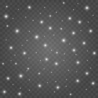 Искры пыли и белые звезды сияют особым светом. сверкает на прозрачном фоне. сверкающие магические частицы пыли.