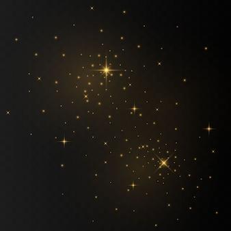 Искры пыли и золотые звезды сияют особым светом. сверкает на прозрачном фоне. сверкающие магические частицы пыли.
