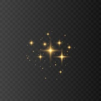 黄色、白、金、オレンジ色の輝きのシンボル。オリジナルの星の輝きアイコンのセット。明るい花火、装飾のきらめき、光沢のあるフラッシュ。