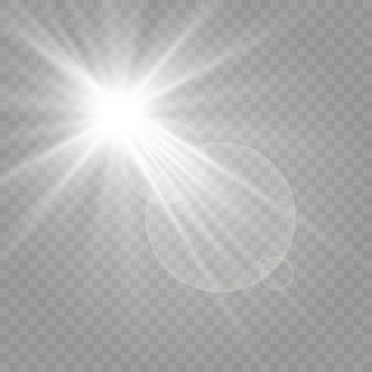 広告のための明るいバナー。光、光の効果、バナー照明。イラストは市松模様の背景に描かれています。