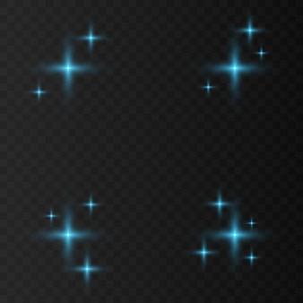 Синий, белый, золотой, оранжевый искрится вектор символов. набор оригинальных векторных звезд сверкают значок. яркий фейерверк, украшение мерцание, блестящая вспышка.