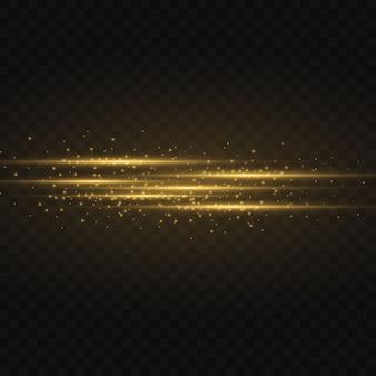 黄色の水平レンズフレアパック。レーザー光線、水平光線。美しい光のフレア。暗闇の中で光る縞。輝く抽象的な輝く裏地。