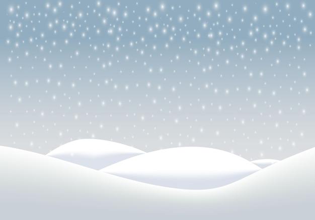 Естественный зимний пейзаж фон с сильным снегопадом, снежинки разных форм и форм, сугробы