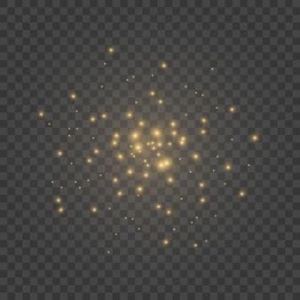 ほこりは黄色です。黄色の火花と金色の星が特別な光で輝いています。透明にベクトルの輝き