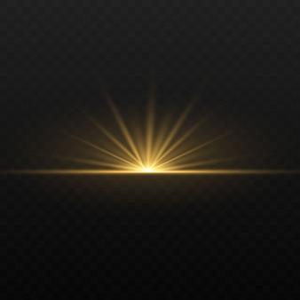 Огни и искры. абстрактные золотые огни, изолированные на прозрачном