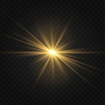 透明に分離された黄金の白熱ライト効果のセット