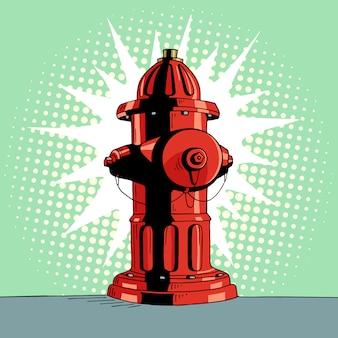 Мультфильм поп-арт красный гидрант.