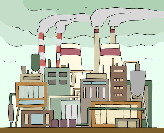 喫煙パイプで工場を落書き