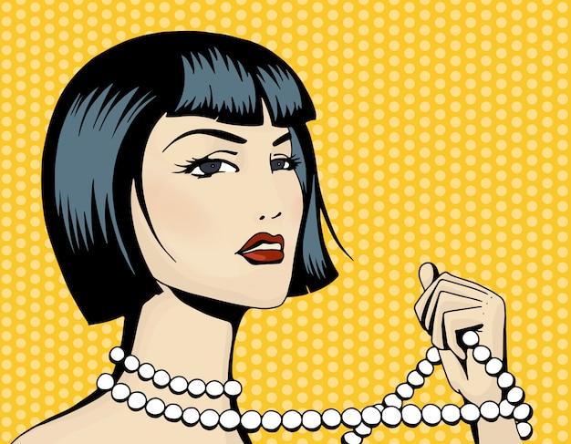 ビーズのストランドを持つポップアート美しい女性
