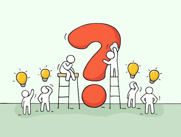 Люди с большим вопросом и идеями лампы