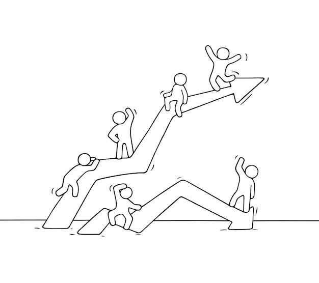 Мультфильм вверх и вниз по диаграмме с работающими людьми