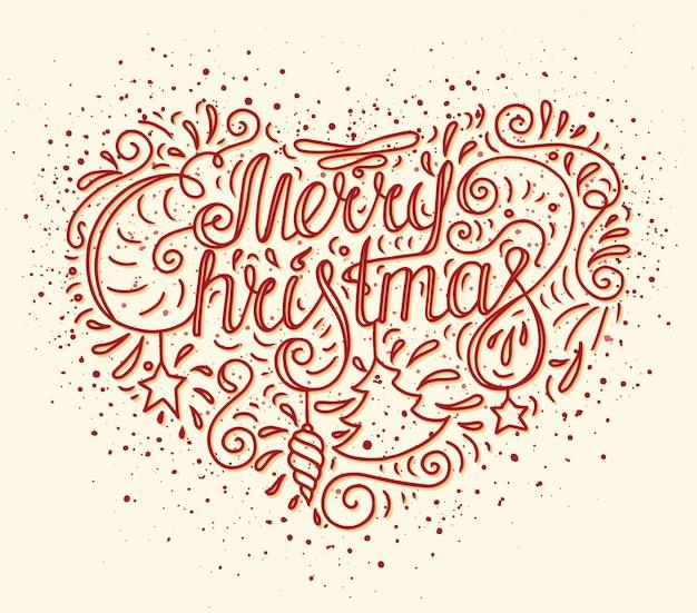 Рождество каракули типография с сердцем