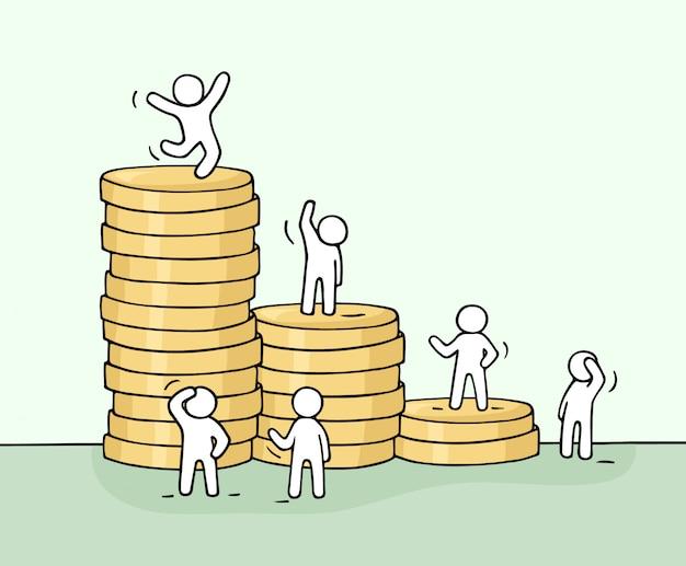 コインのスタックで働く小さな人々のスケッチ。