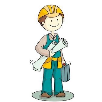 Персонаж рабочий держит набор инструментов