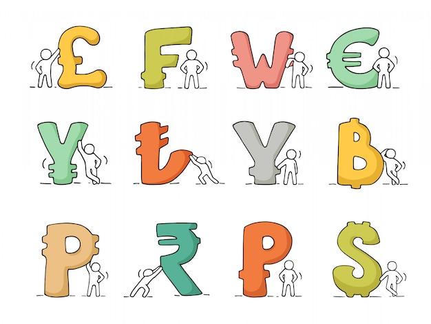 Значки финансов установили эскиза работая маленьких людей с валютой.