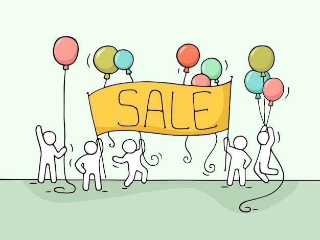 Эскиз работающих маленьких людей с продажи баннеров.