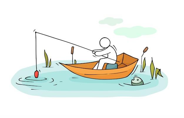 漁師の男性がボートの図に座る