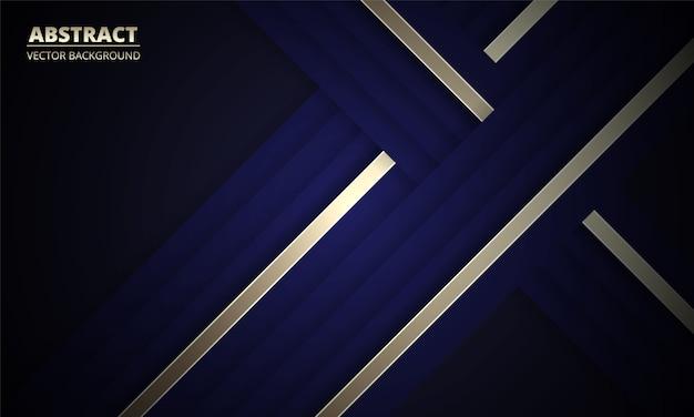ゴールドとブルーのラインと濃いネイビーブルーの抽象的な背景。明るいラインとモダンな深い青色のバナー。