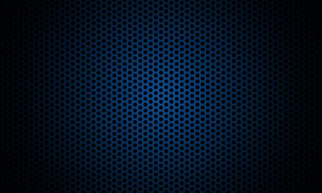 暗い六角形の炭素繊維のテクスチャです。ネイビーブルーのハニカムメタルテクスチャスチールの背景。