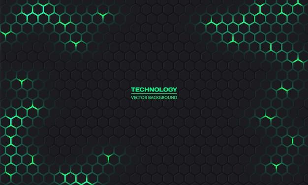 暗い技術六角形の背景。